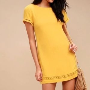 Lulu's Mustard Yellow Perfect Time Dress Size Med